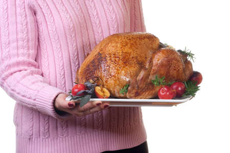 garnished: Garnished roasted turkey on platter is ready to be served Stock Photo