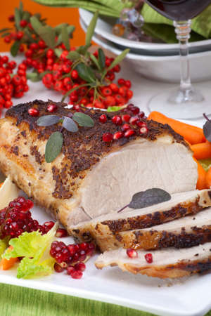 野菜とおいしいセージ マスタード豚ヒレ肉