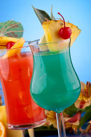 Blue Hawaiian and Hurricane cocktails. Most popular cocktails series. photo