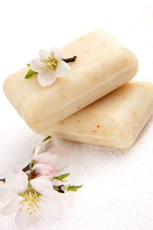 natural soap: Spa set - organic almond soap and almond flowers. best suited for relaxing and health commercials
