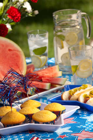 fourth of july: Cornbread and hot dogs on 4th of July in patriotic theme Stock Photo