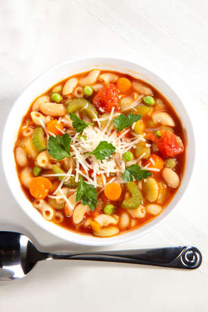 Closeup of bowl of hot fresh Minestrone soup Stock Photo