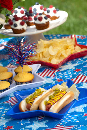 Cornbread and hot dogs on 4th of July in patriotic theme Stock Photo - 7224391