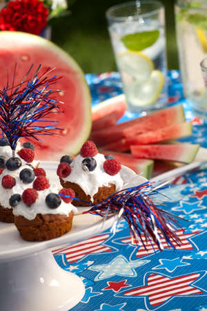 lawn party: Cornbread and muffins on 4th of July in patriotic theme
