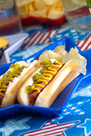 Hot dogs and cornbread on 4th of July in patriotic theme