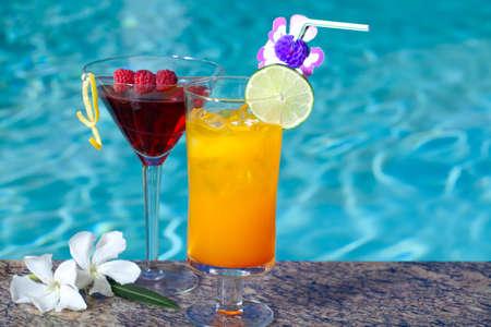mai: Mai Tai and Cosmopolitan cocktails on swimming pool side