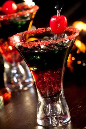 Closeup of Devils Blood Cocktail, black vodka, cranberry juice - Halloween drinks series  photo