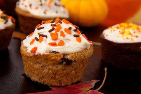 Full plate of just baked whole grain home made muffins in fall environment. photo