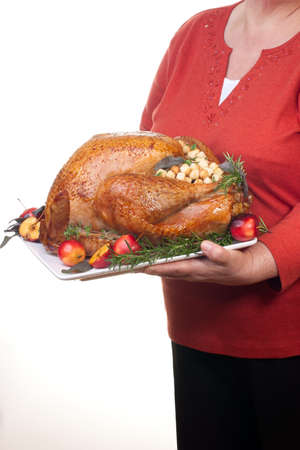 Garnished roasted turkey on platter is ready to be served photo
