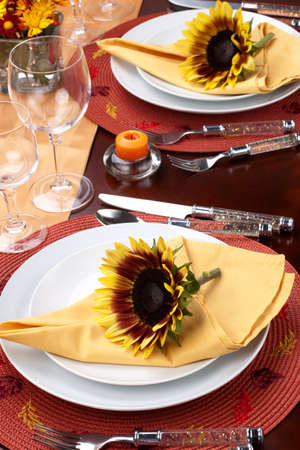 Harvest festive dinner table setting with sunflowers. Stock Photo - 8120080