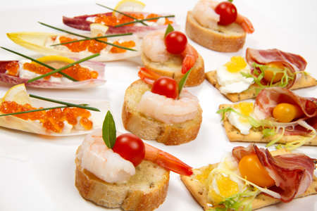 Assorted fresh canapes on tray ready for holiday table over white background Stock Photo - 8192413