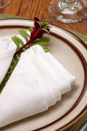 silver fern: Exotic theme table setting. Arrangments with fresh fern and kangaroo paws flower Stock Photo