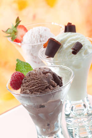 Closeup of delicious vanilla, strawberry, and chocolate ice cream with fresh berries, mint, and chocolate swirls. Stock Photo - 9159906