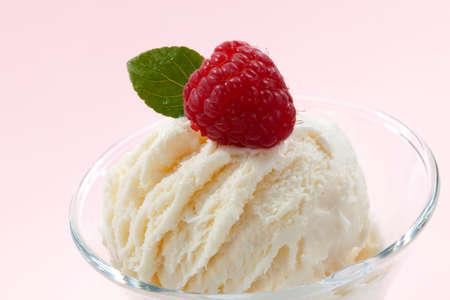 Closeup of delicious Fruit Ice Cream with fresh raspberries. Stock Photo