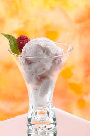 Closeup of delicious Fruit Ice Cream with fresh raspberries. Stock Photo - 9743051
