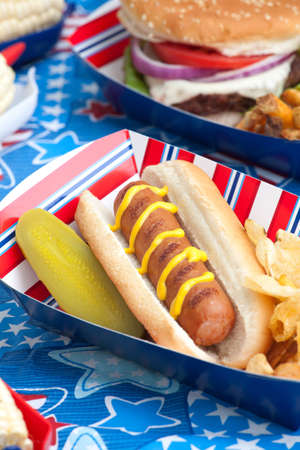 Hot dogs, corn and burgers on 4th of July picnic in patriotic theme Stock Photo - 9743056