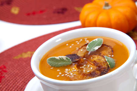 Closeup of a cup of hot delicious spicy roasted pumpkin soup with pumpkin crisps, sage and sesame seads. Stock Photo - 9961360