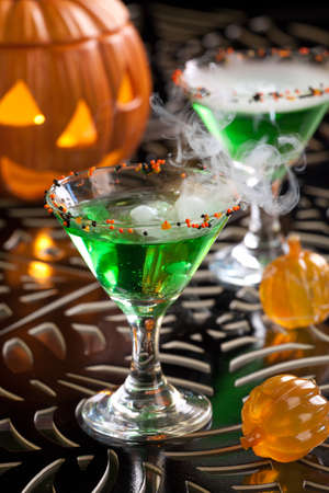 Closeup of Witch Blood Martini, vodka, gin, vermouth, and liquor - Halloween drinks series