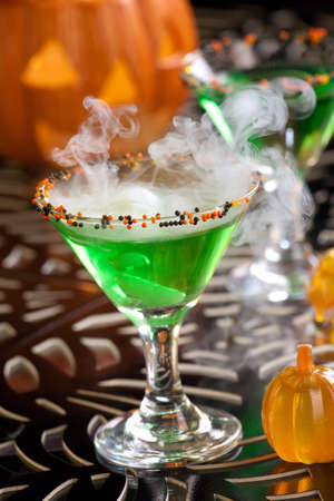 Closeup of Witch Blood Martini, vodka, gin, vermouth, and liquor - Halloween drinks series Stock Photo - 10547382