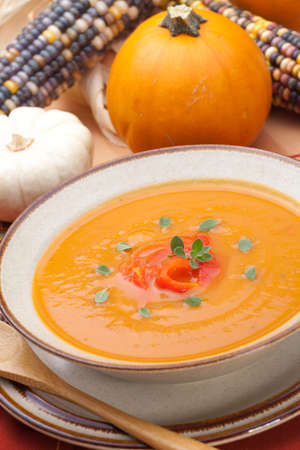 Closeup of a bowl of hot delicious spicy roasted bell pepper pumpkin soup garnished with fresh oregano