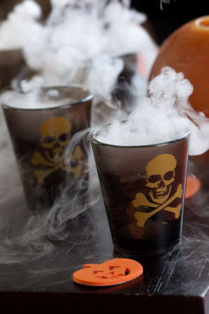 Closeup of Deadly Shot, vodka and hot pepper - Halloween drinks series Banque d'images