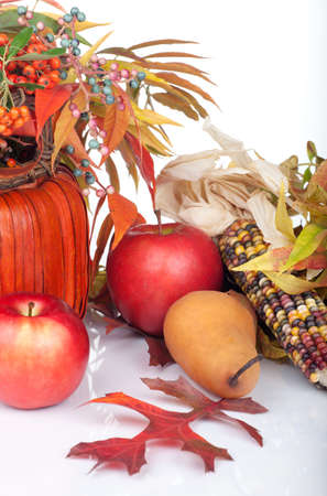 Closeup of multi colored pumpkins, fall beries and leaves as a decoration for Thanksgiving. Stock Photo - 10848430