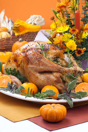 Garnished citrus glazed roasted turkey on holiday table, pumpkins, flowers, and white wine Stock Photo - 10848433