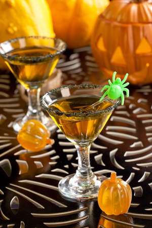 vermouth: Closeup of Witch Blood Martini, vodka, gin, vermouth, and liquor - Halloween drinks series