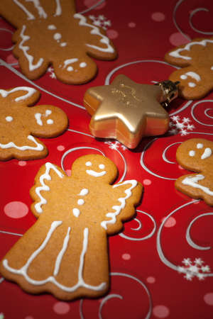 Closeup of Angels Gingerbread cookies, and Christmas ornament photo