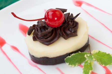 Closeup of delicious Chocolate Vanilla Cheesecake garnished with maraschino cherries and mint.