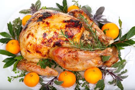 Garnished citrus glazed roasted turkey on tray over white background Banque d'images
