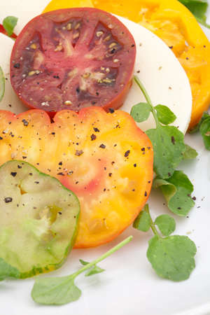 heirloom: Closeup of Heirloom Tomato and Mozzarella Cheese Salad with watercress