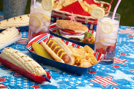 bread soda: Hot dogs, corn and burgers on 4th of July picnic in patriotic theme Stock Photo