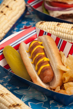 Hot dogs, corn and drinks on 4th of July picnic in patriotic theme Stock Photo - 13296958