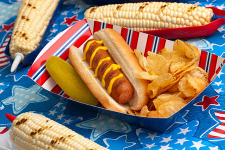 Hot dogs, corn and drinks on 4th of July picnic in patriotic theme photo