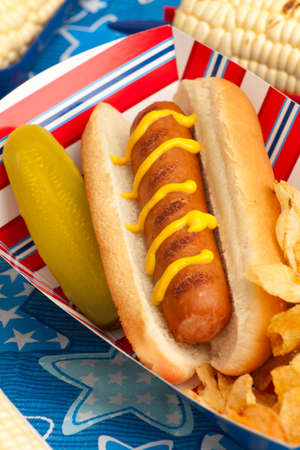 Cornbread and hot dogs on 4th of July in patriotic theme photo