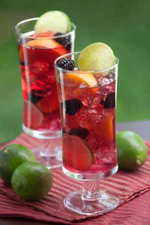 bebidas alcohÓlicas: Primer plano de dos copa de Sangría Rojo - cal de albaricoque y mora - en la mesa al aire libre Foto de archivo