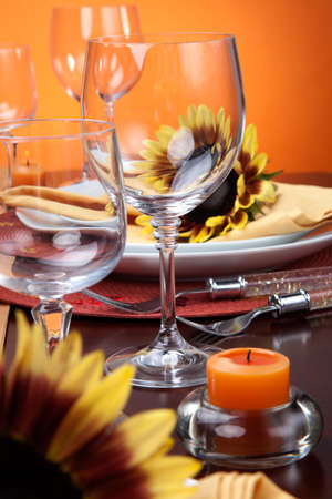 Harvest festive dinner table setting with sunflowers  Stock Photo