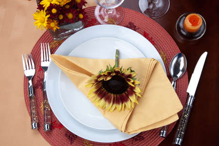 arrangment: Harvest festive dinner table setting with sunflowers  Stock Photo