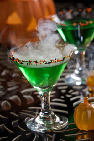 Closeup of Witch Blood Martini, vodka, gin, vermouth, and liquor - Halloween drinks series Stock Photo - 14480889