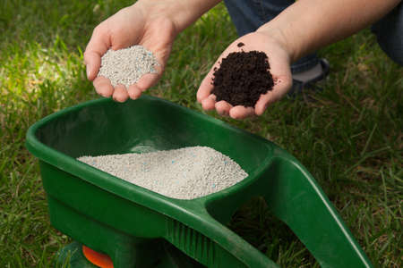 fertilize: Preparing to fertilize lawn in back yard in spring time Stock Photo