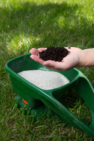 frontyard: Preparing to fertilize lawn in back yard in spring time Stock Photo
