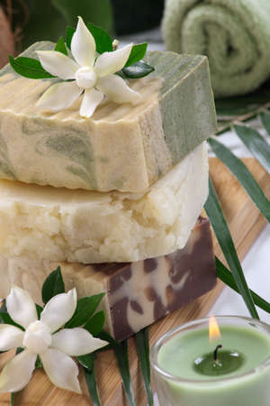 Spa set - assorted handmade organic soap and fresh Gardenia flowers  Best suited for relaxing and health commercials
