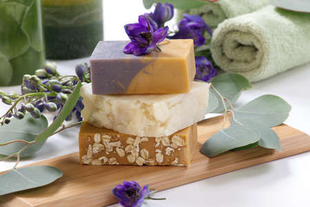 Spa set - assorted aromatic organic handmade soap, fresh Delphinium flowers, and eucalyptus leaf  Best suited for relaxing and health commercials Stock Photo