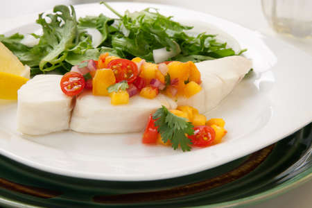 poached: Poached halibut with peach salsa, and green salad