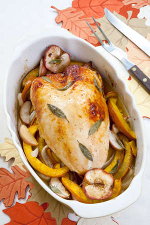 Sage - honey butter rub turkey breast with roasted pumpkin and apples inside baking pan  Stock Photo - 16190031
