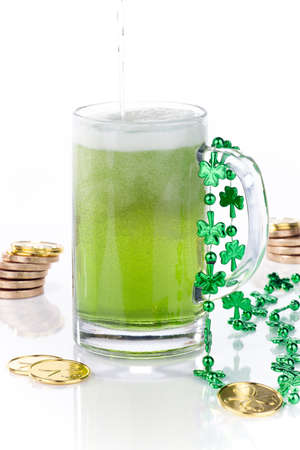 Mug of green beer for St Patrick photo