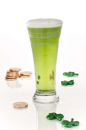 Glass of green beer for St Patrick Stock Photo - 17749223