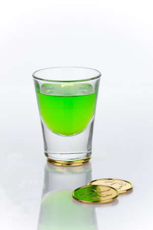 Shot of green liquor for St Patrick photo