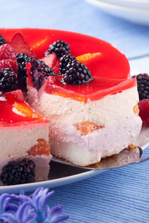 Piece of fruit yogurt cake. Cream and yogurt based fruit filling topped with jelly. Raspberries, blackberries, stawberries, and oranges.  photo
